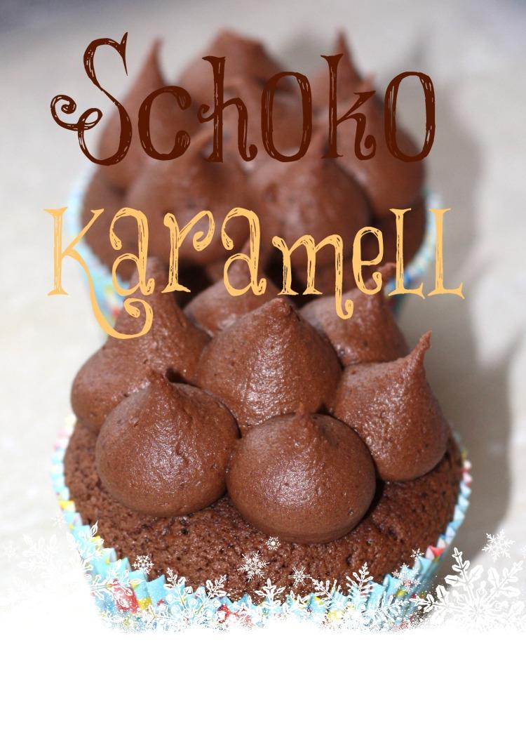 Schoko Karamell Cupcakes mit Frischkäse Frosting