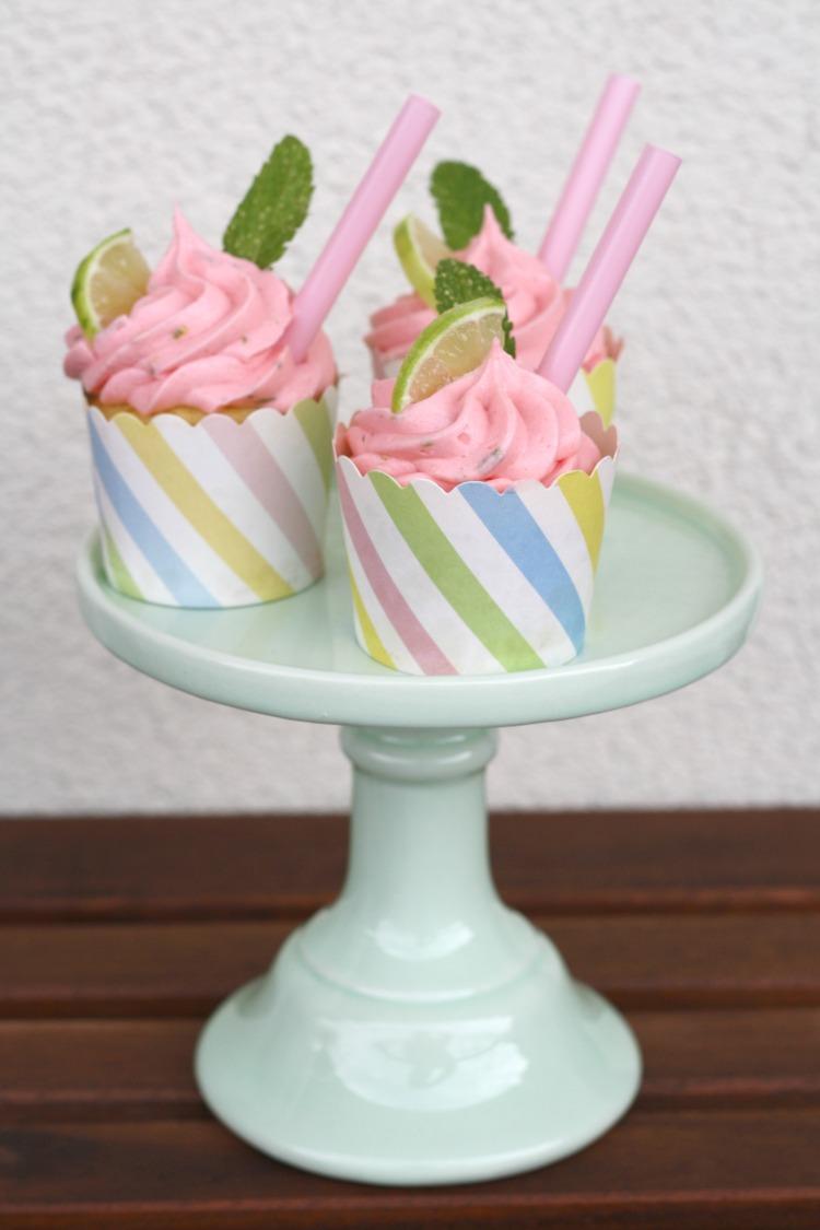 Himbeer Mojito Cupcakes mit Minze und Limette