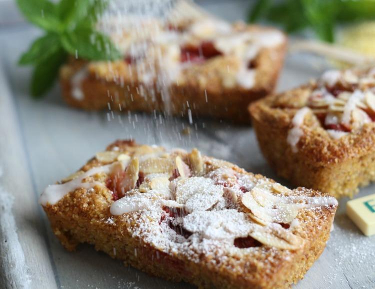 glutenfreier Erdbeerkuchen mit Polenta und Mandeln