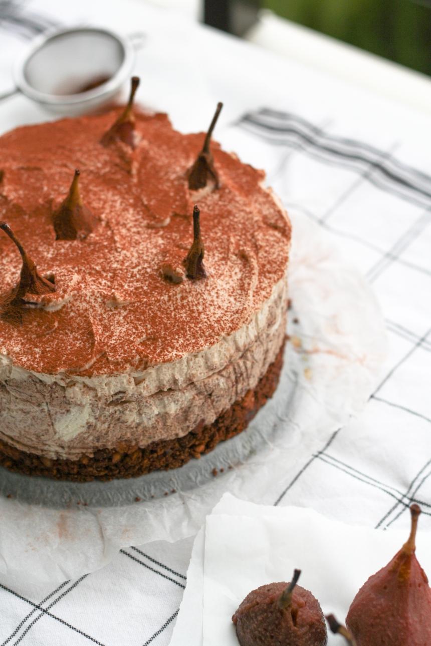 Maroni-Cheesecake-Schokolade-Maronen-Birnen-pochiert-Kekse-Rotwein