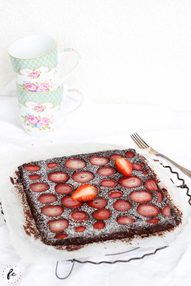 glutenfreier Erdbeer Brownie_